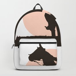 Man And Horses Sunset Silhouette Rider Landscape Backpack