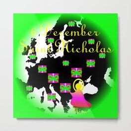 Abstract graphics with the inscription for the memory of Saint Nicholas the bishop from Mira on 6 December, map of Europe, gift packages and neon green frame Metal Print
