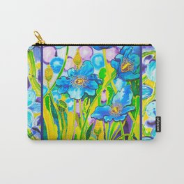 Blue Poppies 2 with Border Carry-All Pouch