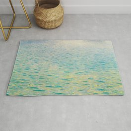 Island in the Attersee Gustav by Klimt Date 1902 // Abstract Oil Painting Water Horizon Scene Rug