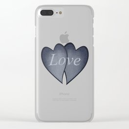 Loving hearts - denim photocollage Clear iPhone Case