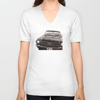 mustang V-neck T-shirts featuring Mustang by Lindsay Carter