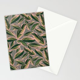 Calathea Leaves Pattern- Pink Green Gray Stationery Cards