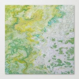 Lime Green Aqua Yellow Textured Abstract Canvas Print