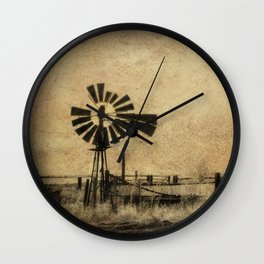 Old Windmill • Sepia • Western • Infrared • Texture Wall Clock
