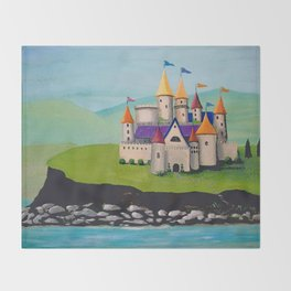 Kids Storybook Castle by the Water Throw Blanket