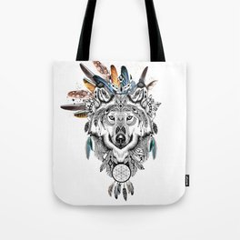 Bohemian Wolf with Feather Headdress Tote Bag