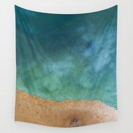 Blue Ocean Sea Shoreline - Drone photography Wall Tapestry