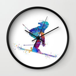 Girl Skiing Colorful Watercolor Winter Sports Art Wall Clock