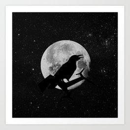 crow and moon Art Print