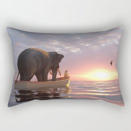 elephant and dog sail in a boat at sea Rectangular Pillow