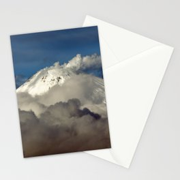 Volcanic landscape, winter view of fumaroles activity of volcano on Kamchatka Peninsula Stationery Cards