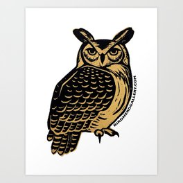 Great Horned Owl Linocut Art Print