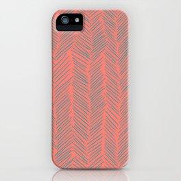 Living Coral Herringbone Gray iPhone Case