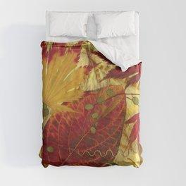 Fall Pressed Leaves Duvet Cover