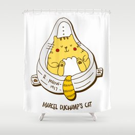 Duchamp's Cat Shower Curtain