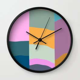Abstract Geometric Shapes in Fun, Bright and Bold Colors Wall Clock