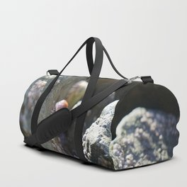 Sea Snails Grazing on Ocean Weathered Rocks with Barnacles Duffle Bag