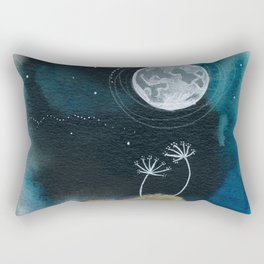Moon Series #11 Watercolor + Ink Painting Rectangular Pillow