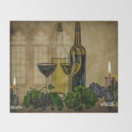 Vintage Winery Throw Blanket