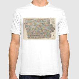 Vintage Map of Iowa (1875) T-shirt