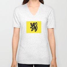 Flag of Flanders - Belgium,Belgian,vlaanderen,Vlaam,Oostende,Antwerpen,Gent,Beveren,Brussels,flamish Unisex V-Neck