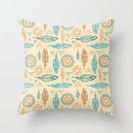 Bohemian pastel green orange feathers triangles mandala Throw Pillow
