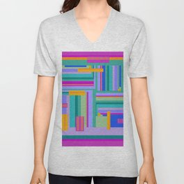 Magenta Corridors graphic design in bright pink blue purple orange Unisex V-Neck