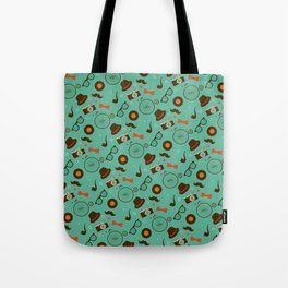 Colorful Hipster Elements Pattern on green Tote Bag