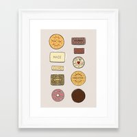 british Framed Art Prints featuring British Biscuits by LuvMoo