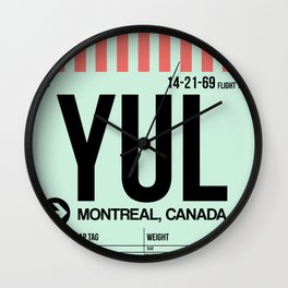 YUL Montreal Luggage Tag 2 Wall Clock