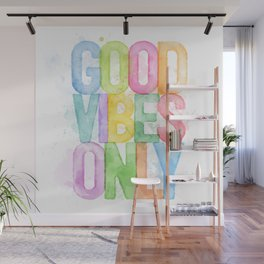 Good Vibes Only Watercolour Wall Mural