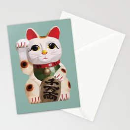 Maneki Neko (Fortune Cat) Polygon Art Stationery Cards
