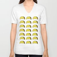 taco V-neck T-shirts featuring Taco Party by Leah Flores