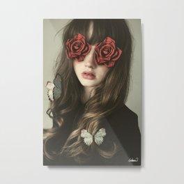 Girl Flower Eyes Metal Print