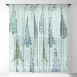 MidCentury Christmas Trees 1.0 Sheer Curtain