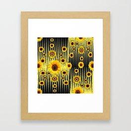YELLOW ART DECO SUNFLOWERS BLACK ABSTRACT DESIGN Framed Art Print