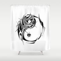 yin yang Shower Curtains featuring Yin Yang by David T Eagles
