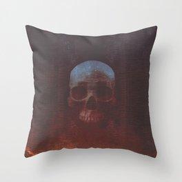 Protosequence Crimson Throw Pillow