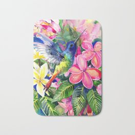 Hummingbird and Plumeria Florwers Tropical bright colored foliage floral Hawaiian Flowers Bath Mat