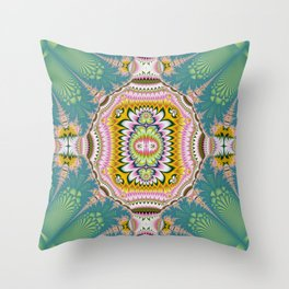 Abstract with tribal floral patterns in blue, green, pink & yellow Throw Pillow