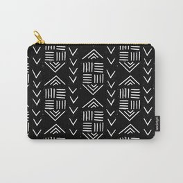 mudcloth 6 minimal textured black and white pattern home decor minimalist Carry-All Pouch