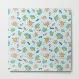 Whimsical Flowers and Butterflies on blue background Metal Print