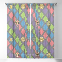 African Animals Bright Tiles Sheer Curtain