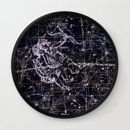 Gemini, Constellation map, Zodiac, Sign sky, Stars, Universe, astrology, astrological, signs, birth Wall Clock