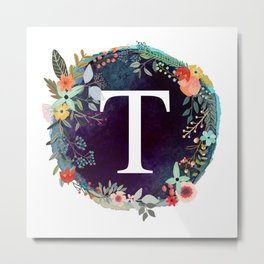 Personalized Monogram Initial Letter T Floral Wreath Artwork Metal Print