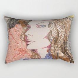 woman cat and moon Rectangular Pillow