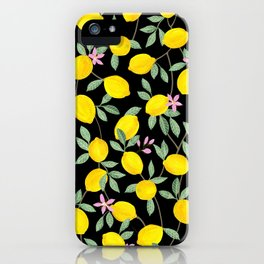Lemon and Blossoms on Black iPhone Case