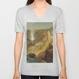 The Grand Canyon Of The Yellowstone 1872 By Thomas Moran | Daylight Watercolor Scenery Reproduction Unisex V-Neck