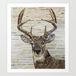 Whitetail Deer Buck Collage by C.E. White Art Print